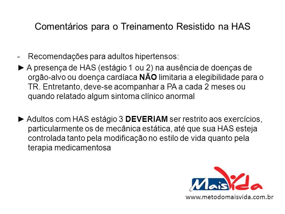 Comentários para o Treinamento Resistido na HAS -Recomendações para adultos hipertensos: A presença de HAS (estágio 1 ou 2) na ausência de doenças de