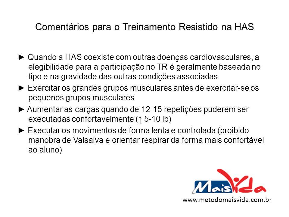 Comentários para o Treinamento Resistido na HAS Quando a HAS coexiste com outras doenças cardiovasculares, a elegibilidade para a participação no TR é