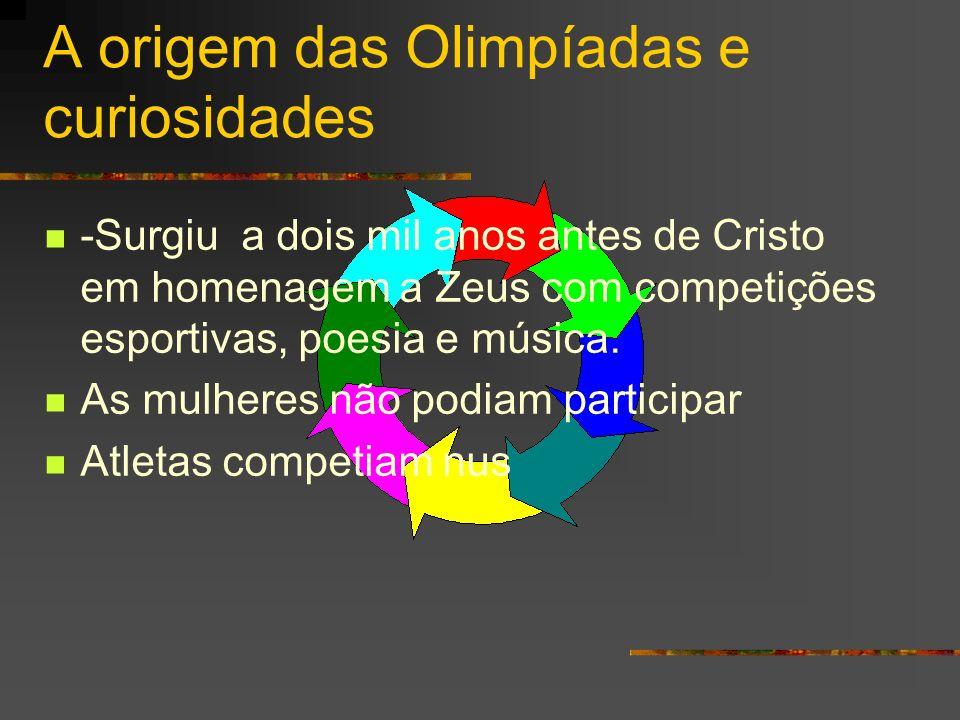 A origem das Olimpíadas e curiosidades -Surgiu a dois mil anos antes de Cristo em homenagem a Zeus com competições esportivas, poesia e música. As mul