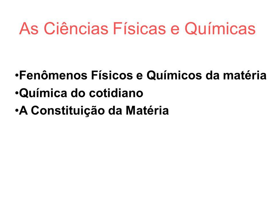 As Ciências Físicas e Químicas Fenômenos Físicos e Químicos da matéria Química do cotidiano A Constituição da Matéria