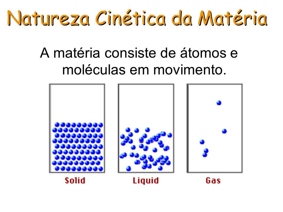 Natureza Cinética da Matéria A matéria consiste de átomos e moléculas em movimento.