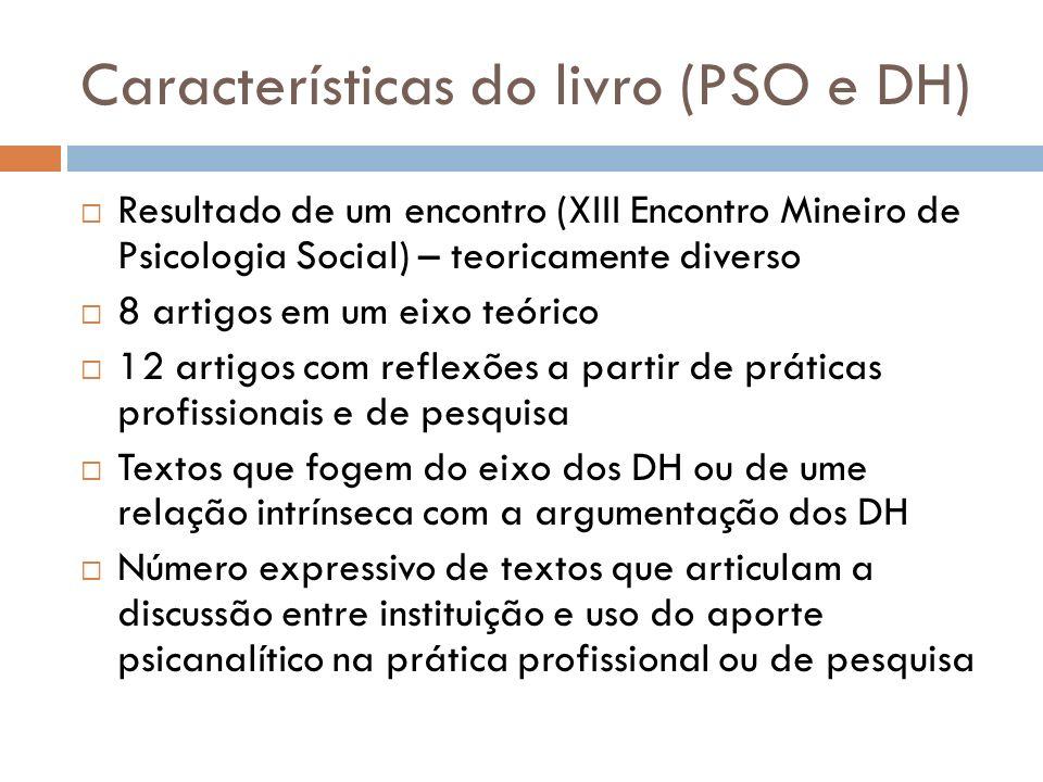 Características do livro (PSO e DH) Resultado de um encontro (XIII Encontro Mineiro de Psicologia Social) – teoricamente diverso 8 artigos em um eixo