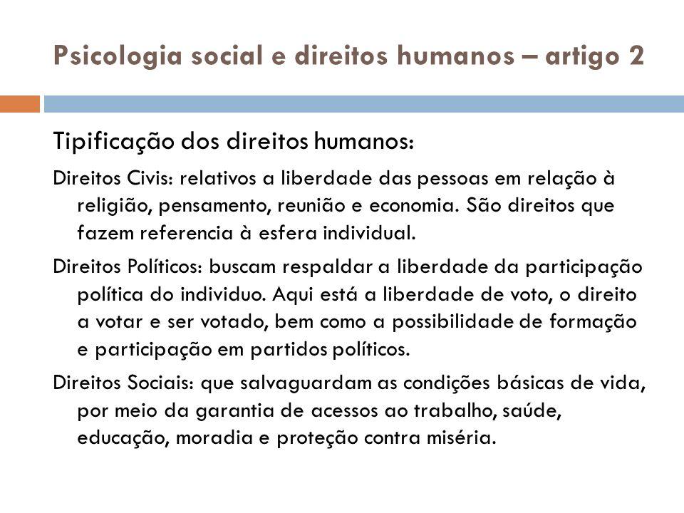 Psicologia social e direitos humanos – artigo 2 Tipificação dos direitos humanos: Direitos Civis: relativos a liberdade das pessoas em relação à relig