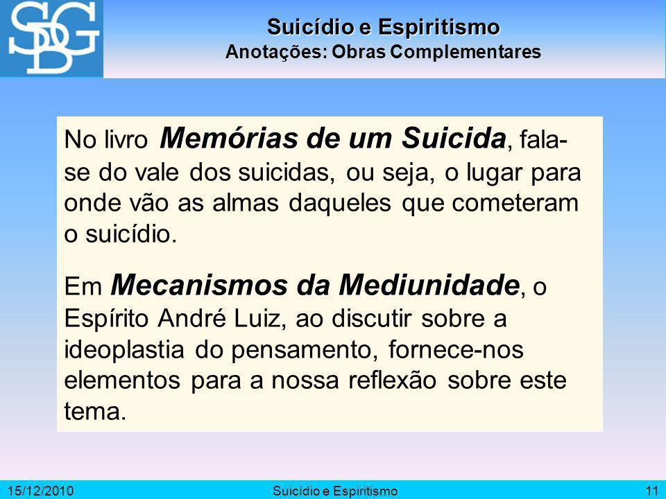 15/12/2010Suicídio e Espiritismo11 Suicídio e Espiritismo Anotações: Obras Complementares Memórias de um Suicida No livro Memórias de um Suicida, fala