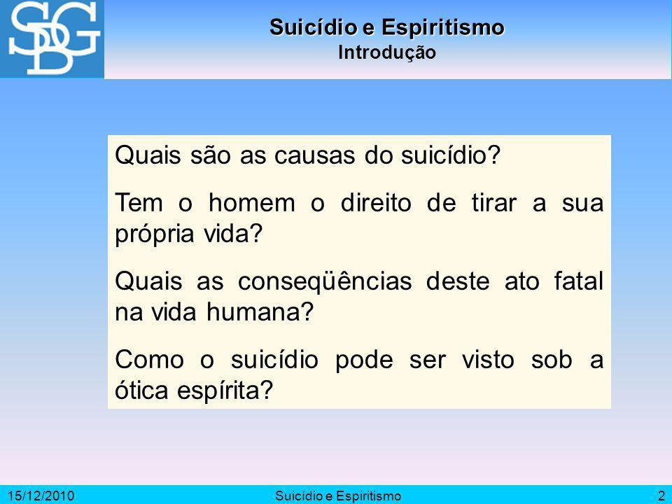 15/12/2010Suicídio e Espiritismo2 Introdução Quais são as causas do suicídio? Tem o homem o direito de tirar a sua própria vida? Quais as conseqüência