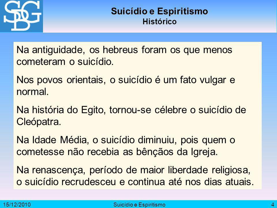 15/12/2010Suicídio e Espiritismo4 Histórico Na antiguidade, os hebreus foram os que menos cometeram o suicídio. Nos povos orientais, o suicídio é um f