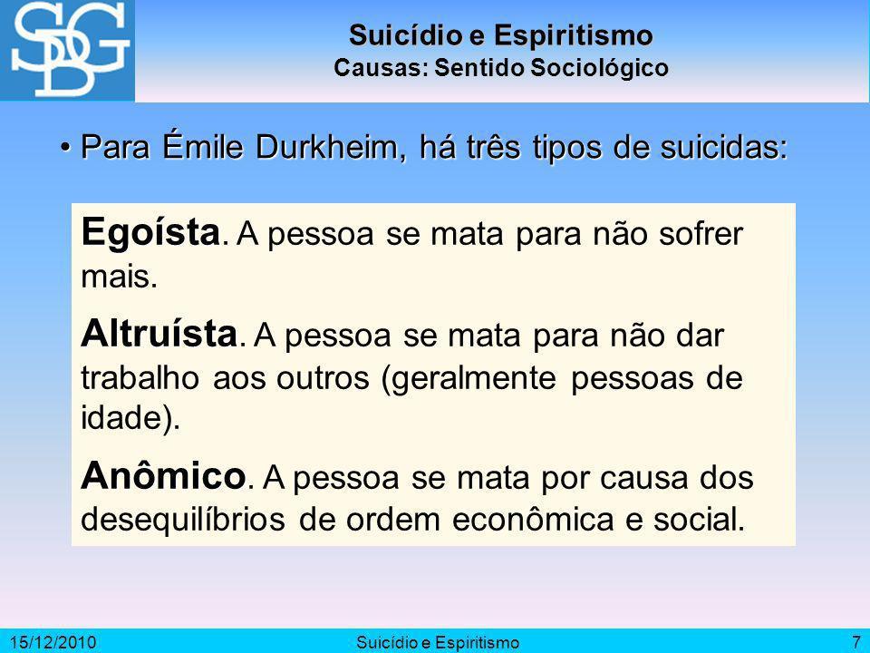 15/12/2010Suicídio e Espiritismo7 Causas: Sentido Sociológico Egoísta Egoísta. A pessoa se mata para não sofrer mais. Altruísta Altruísta. A pessoa se