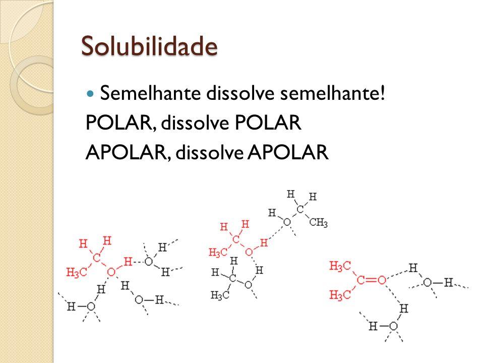 Solubilidade Semelhante dissolve semelhante! POLAR, dissolve POLAR APOLAR, dissolve APOLAR