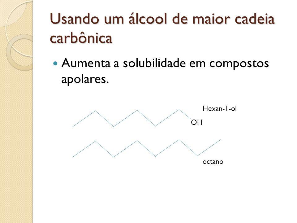 Usando um álcool de maior cadeia carbônica Aumenta a solubilidade em compostos apolares. OH Hexan-1-ol octano