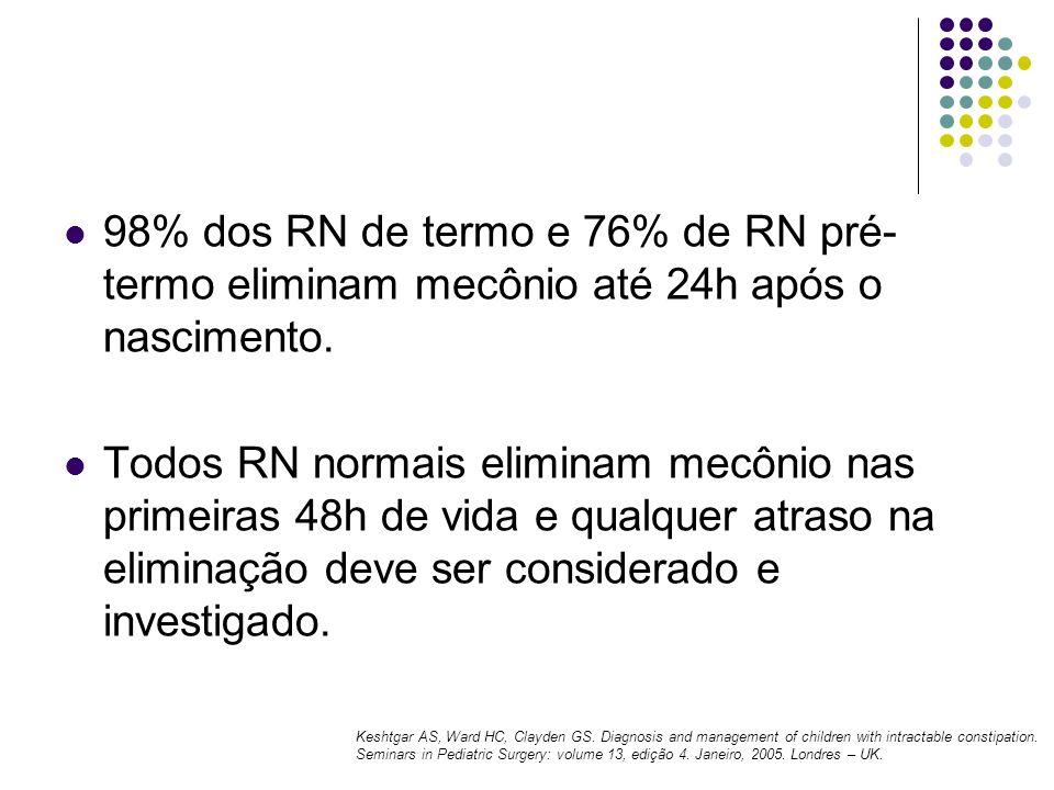 98% dos RN de termo e 76% de RN pré- termo eliminam mecônio até 24h após o nascimento. Todos RN normais eliminam mecônio nas primeiras 48h de vida e q