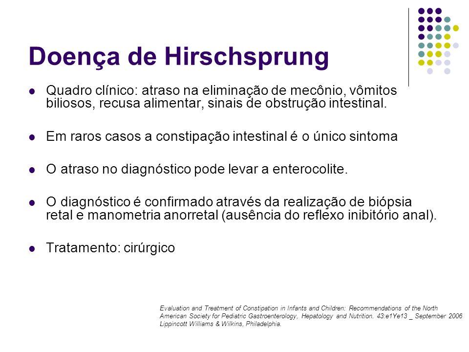 Doença de Hirschsprung Quadro clínico: atraso na eliminação de mecônio, vômitos biliosos, recusa alimentar, sinais de obstrução intestinal. Em raros c