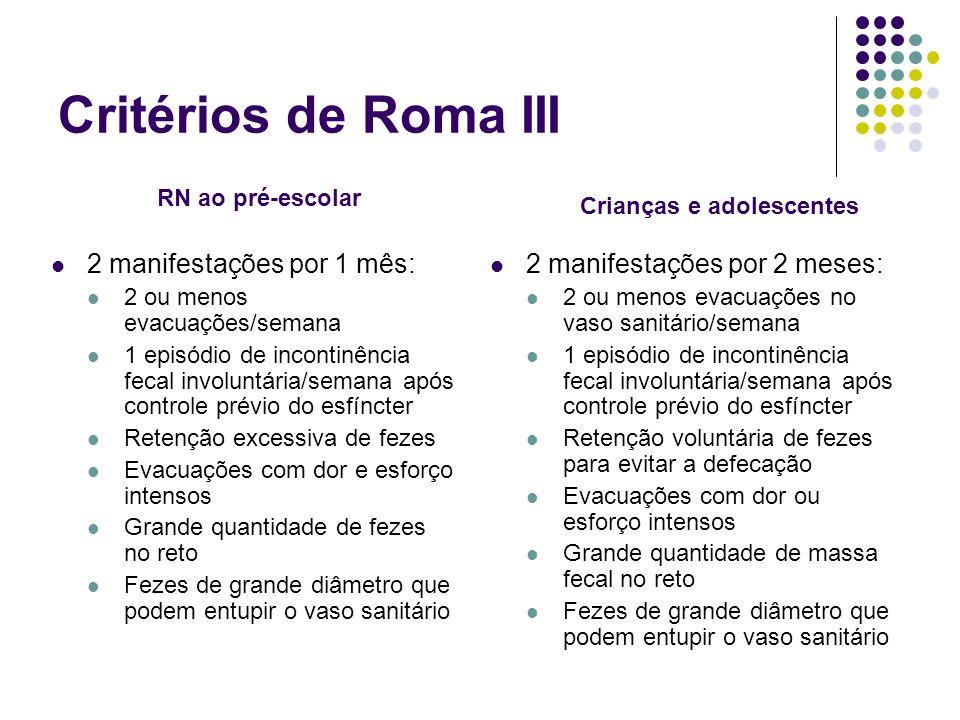 Critérios de Roma III 2 manifestações por 1 mês: 2 ou menos evacuações/semana 1 episódio de incontinência fecal involuntária/semana após controle prév