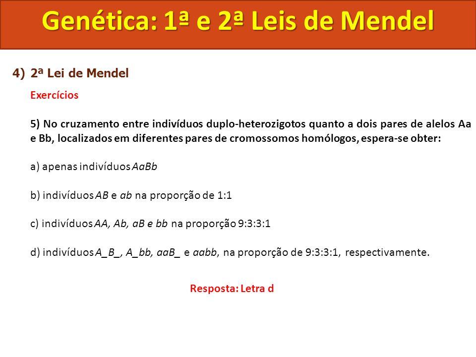 4)2ª Lei de Mendel Exercícios 5) No cruzamento entre indivíduos duplo-heterozigotos quanto a dois pares de alelos Aa e Bb, localizados em diferentes p