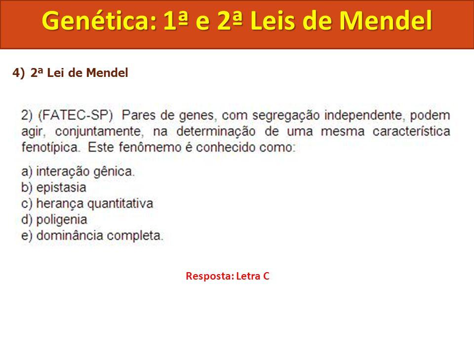 4)2ª Lei de Mendel Genética: 1ª e 2ª Leis de Mendel Resposta: Letra C