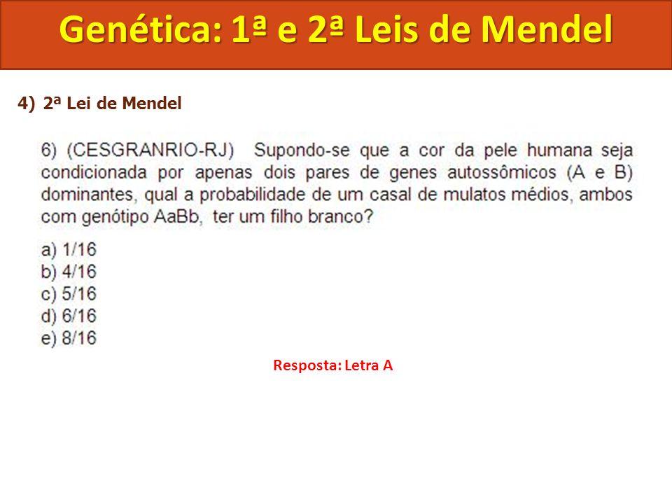 4)2ª Lei de Mendel Genética: 1ª e 2ª Leis de Mendel Resposta: Letra A