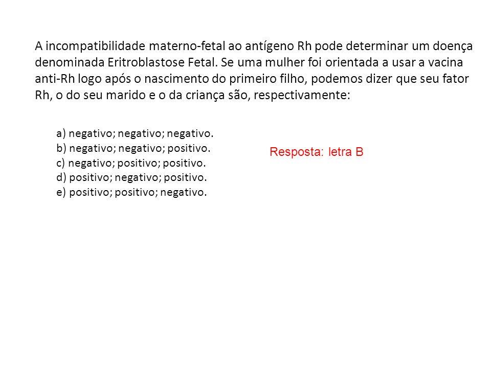 A incompatibilidade materno-fetal ao antígeno Rh pode determinar um doença denominada Eritroblastose Fetal. Se uma mulher foi orientada a usar a vacin