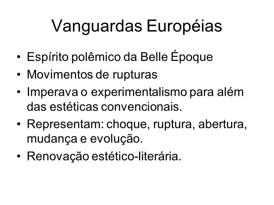 Vanguardas Européias Espírito polêmico da Belle Époque Movimentos de rupturas Imperava o experimentalismo para além das estéticas convencionais. Repre