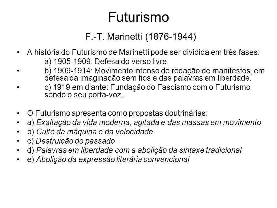 Futurismo F.-T. Marinetti (1876-1944) A história do Futurismo de Marinetti pode ser dividida em três fases: a) 1905-1909: Defesa do verso livre. b) 19