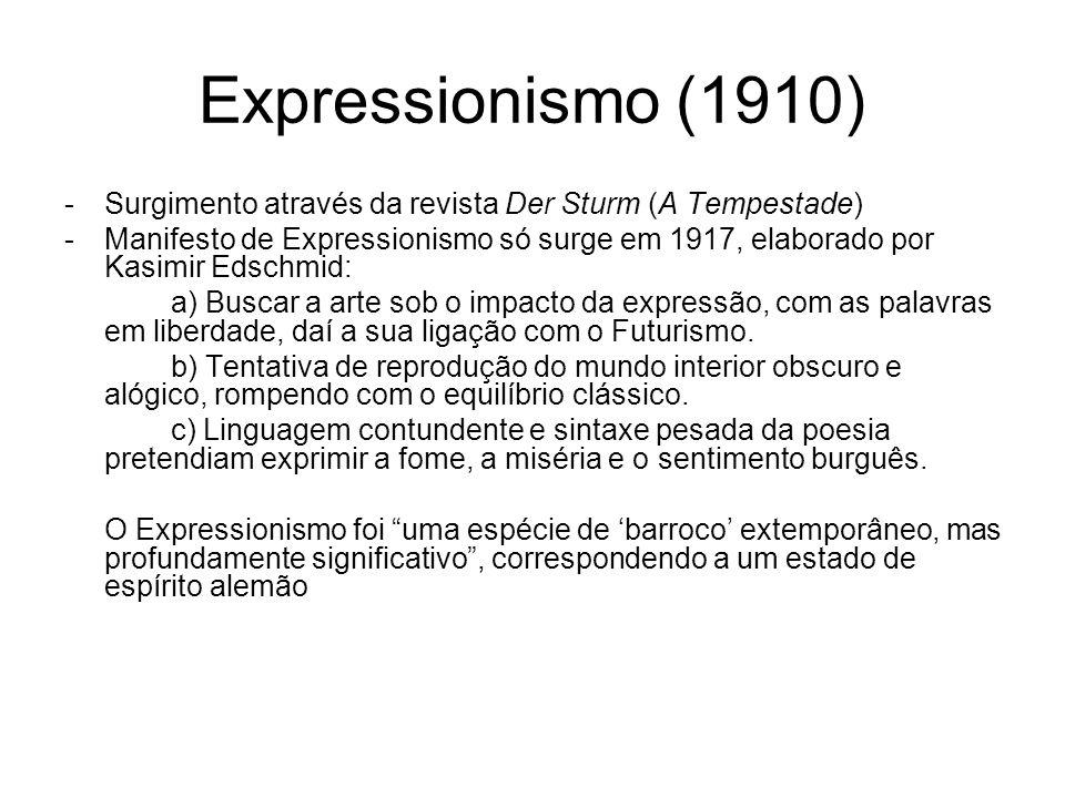 Expressionismo (1910) -Surgimento através da revista Der Sturm (A Tempestade) -Manifesto de Expressionismo só surge em 1917, elaborado por Kasimir Eds