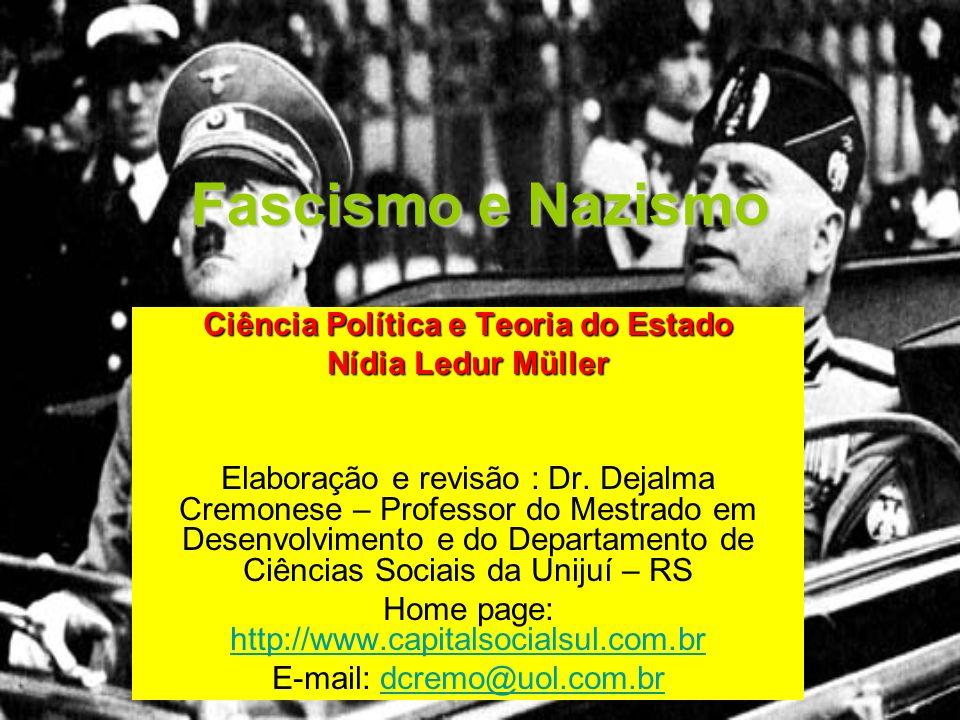 Fascismo e Nazismo Ciência Política e Teoria do Estado Nídia Ledur Müller Elaboração e revisão : Dr. Dejalma Cremonese – Professor do Mestrado em Dese