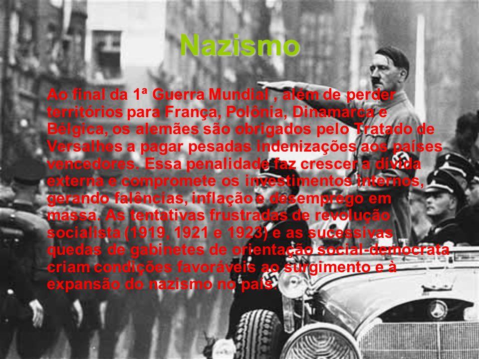 Nazismo Ao final da 1ª Guerra Mundial, além de perder territórios para França, Polônia, Dinamarca e Bélgica, os alemães são obrigados pelo Tratado de