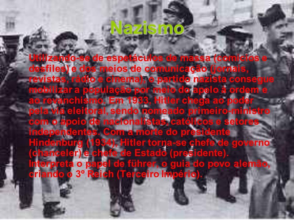 Nazismo Utilizando-se de espetáculos de massa (comícios e desfiles) e dos meios de comunicação (jornais, revistas, rádio e cinema), o partido nazista