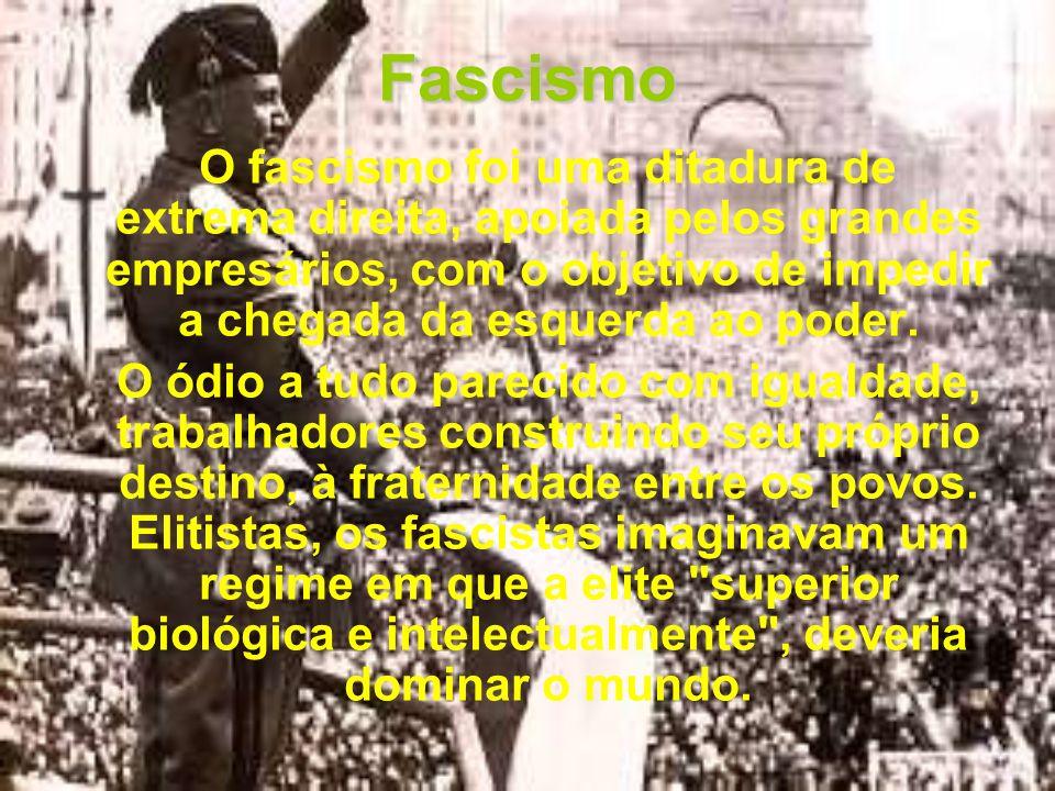 Fascismo é Antiliberal Os fascistas dizem que a democracia é um regime fraco pois permite que os enganadores do povo cheguem no poder.
