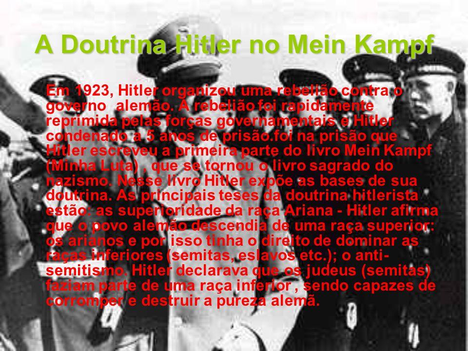 A Doutrina Hitler no Mein Kampf Em 1923, Hitler organizou uma rebelião contra o governo alemão. A rebelião foi rapidamente reprimida pelas forças gove