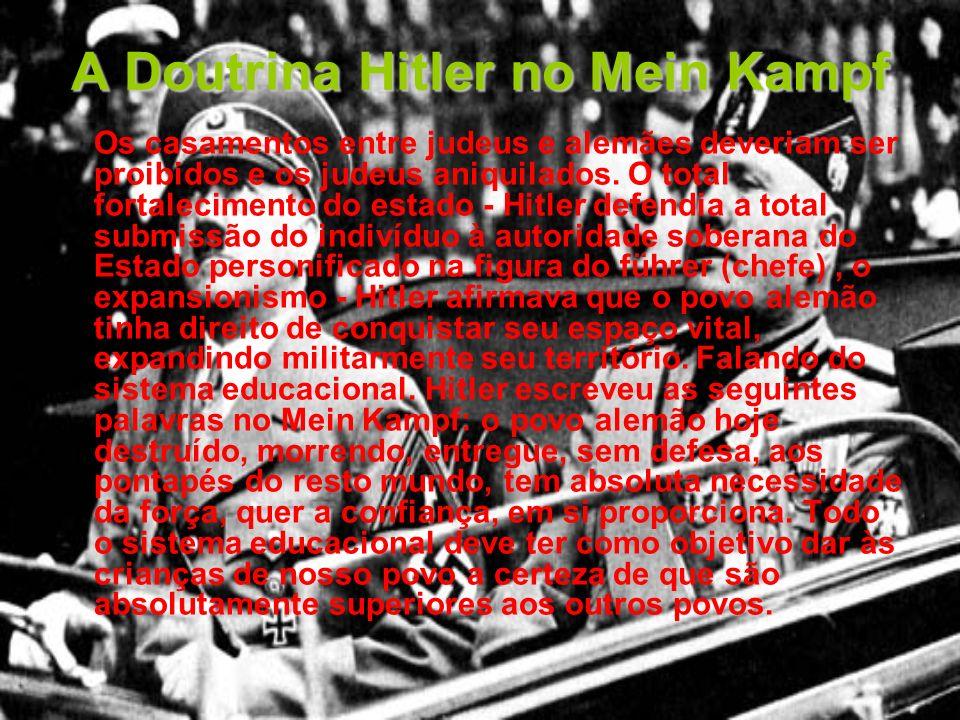 A Doutrina Hitler no Mein Kampf Os casamentos entre judeus e alemães deveriam ser proibidos e os judeus aniquilados. O total fortalecimento do estado