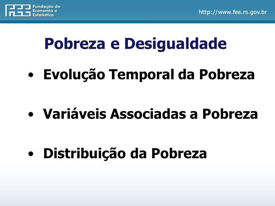 http://www.fee.rs.gov.br Conceitos sobre Pobreza Linha de Pobreza são considerados pobres os indivíduos que recebem até ½ salário mínimo por mês.