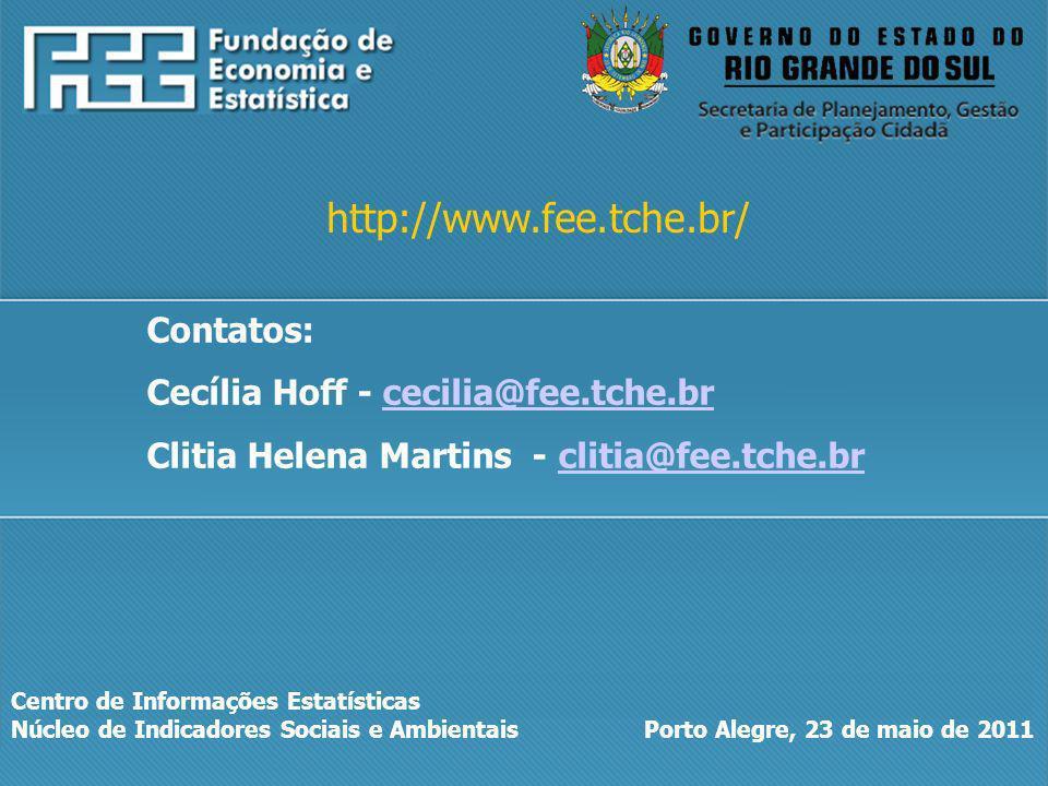 Centro de Informações Estatísticas Núcleo de Indicadores Sociais e Ambientais Porto Alegre, 23 de maio de 2011 http://www.fee.tche.br/ Contatos: Cecíl