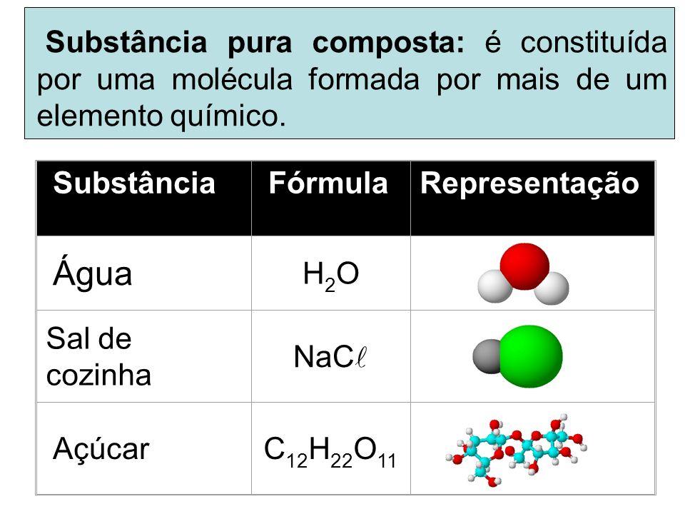 Substância Pura Composta Substâncias puras compostas: que são formadas pela combinação de átomos de dois ou mais elementos químicos diferentes, como p