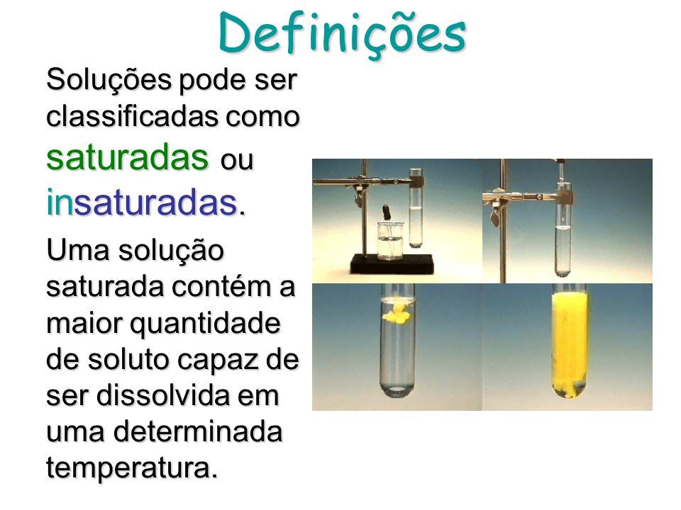 Algumas Definições Uma solução é uma mistura HOMOGÊNEA de 2 ou mais substâncias em uma única fase. Um dos constituintes é o SOLVENTE os outros são os