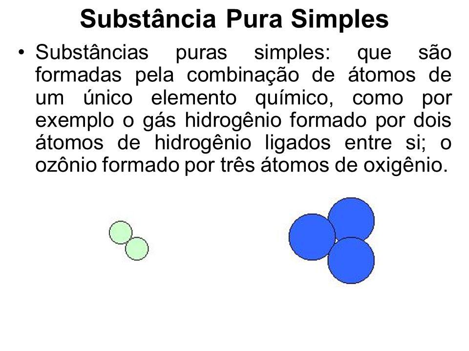 Substância Pura Substância pura é todo material com as seguintes características: Unidades estruturais (moléculas, conjuntos iônicos) quimicamente igu