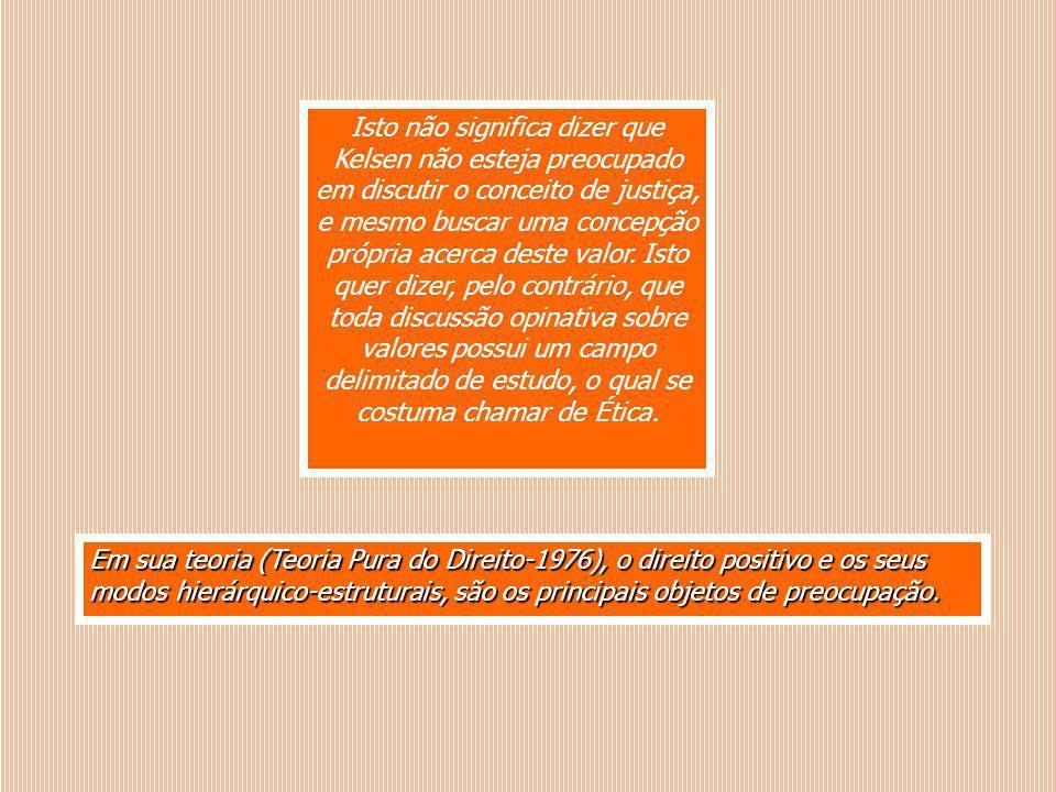 Em sua teoria (Teoria Pura do Direito-1976), o direito positivo e os seus modos hierárquico-estruturais, são os principais objetos de preocupação. Ist