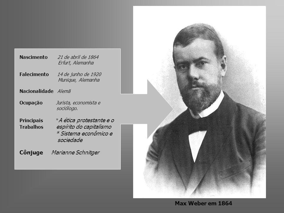 Max Weber em 1864 Nascimento 21 de abril de 1864 Erfurt, Alemanha Falecimento 14 de junho de 1920 Munique, Alemanha Nacionalidade Alemã Ocupação Juris