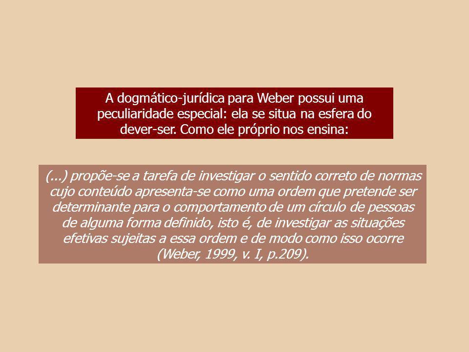 A dogmático-jurídica para Weber possui uma peculiaridade especial: ela se situa na esfera do dever-ser. Como ele próprio nos ensina: (...) propõe-se a