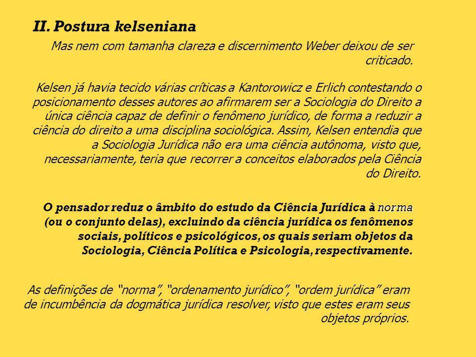 II. Postura kelseniana Mas nem com tamanha clareza e discernimento Weber deixou de ser criticado. Kelsen já havia tecido várias críticas a Kantorowicz