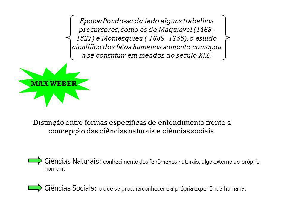 Época: Pondo-se de lado alguns trabalhos precursores, como os de Maquiavel (1469- 1527) e Montesquieu ( 1689- 1755), o estudo científico dos fatos hum
