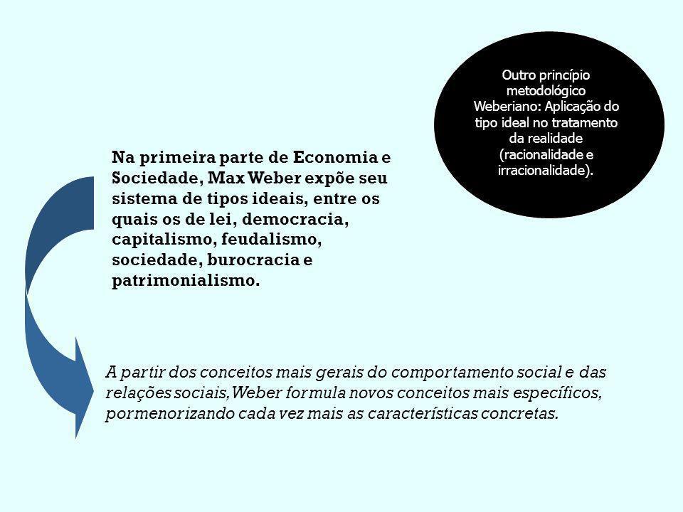 Outro princípio metodológico Weberiano: Aplicação do tipo ideal no tratamento da realidade (racionalidade e irracionalidade). Na primeira parte de Eco
