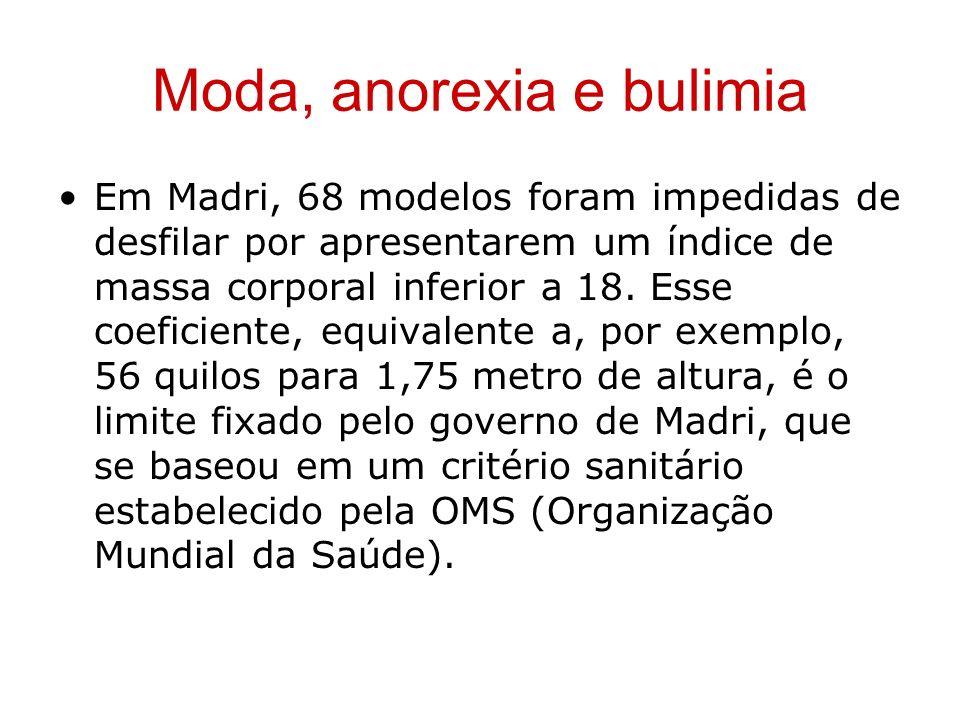Moda, anorexia e bulimia Em Madri, 68 modelos foram impedidas de desfilar por apresentarem um índice de massa corporal inferior a 18. Esse coeficiente