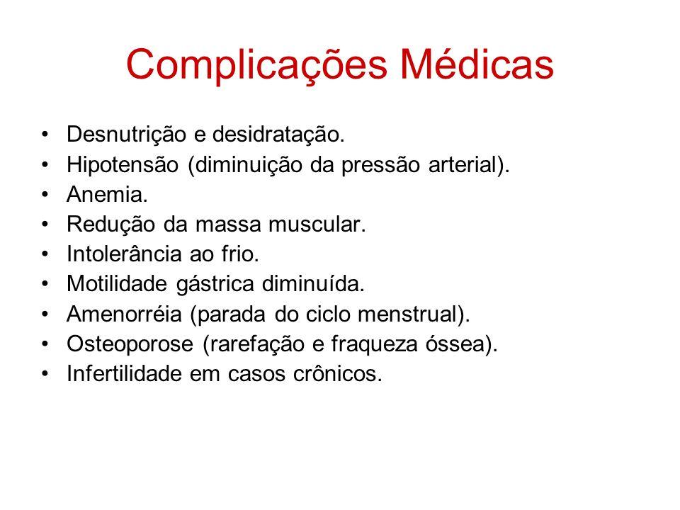 Complicações Médicas Desnutrição e desidratação. Hipotensão (diminuição da pressão arterial). Anemia. Redução da massa muscular. Intolerância ao frio.