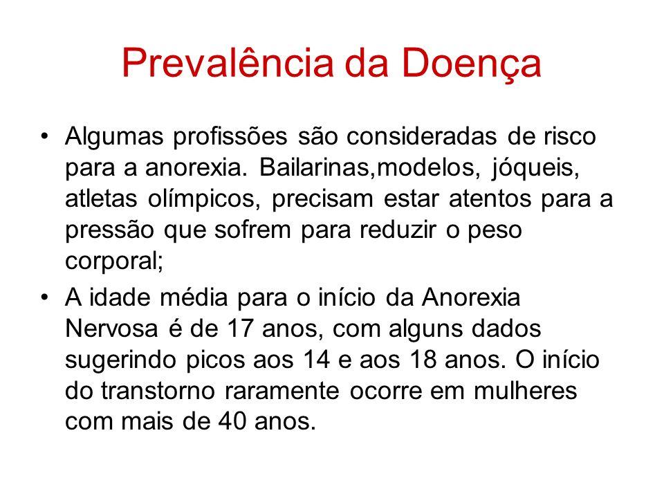 Prevalência da Doença Algumas profissões são consideradas de risco para a anorexia. Bailarinas,modelos, jóqueis, atletas olímpicos, precisam estar ate