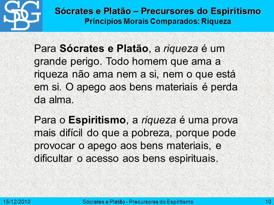 15/12/2010Sócrates e Platão - Precursores do Espiritismo10 Para Sócrates e Platão, a riqueza é um grande perigo. Todo homem que ama a riqueza não ama