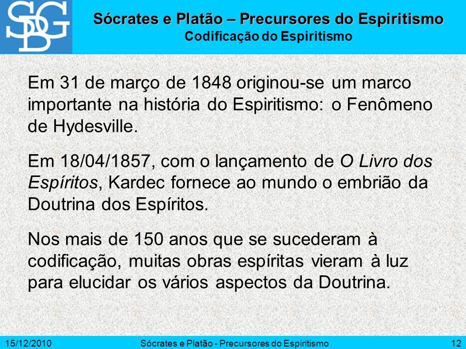 15/12/2010Sócrates e Platão - Precursores do Espiritismo12 Em 31 de março de 1848 originou-se um marco importante na história do Espiritismo: o Fenôme