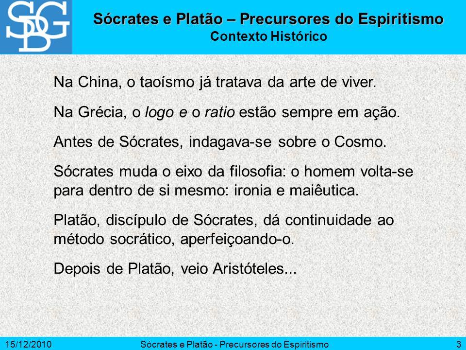 15/12/2010Sócrates e Platão - Precursores do Espiritismo3 Sócrates e Platão – Precursores do Espiritismo Contexto Histórico Na China, o taoísmo já tra
