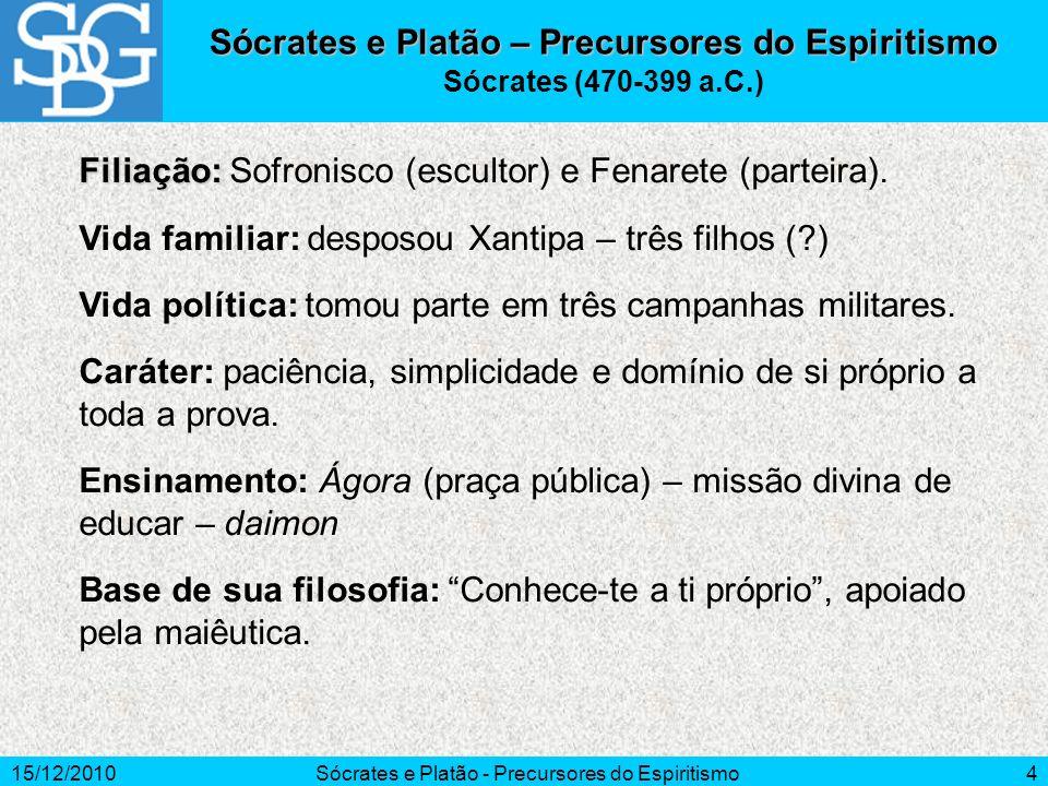 15/12/2010Sócrates e Platão - Precursores do Espiritismo4 Sócrates e Platão – Precursores do Espiritismo Sócrates (470-399 a.C.) Filiação: Filiação: S
