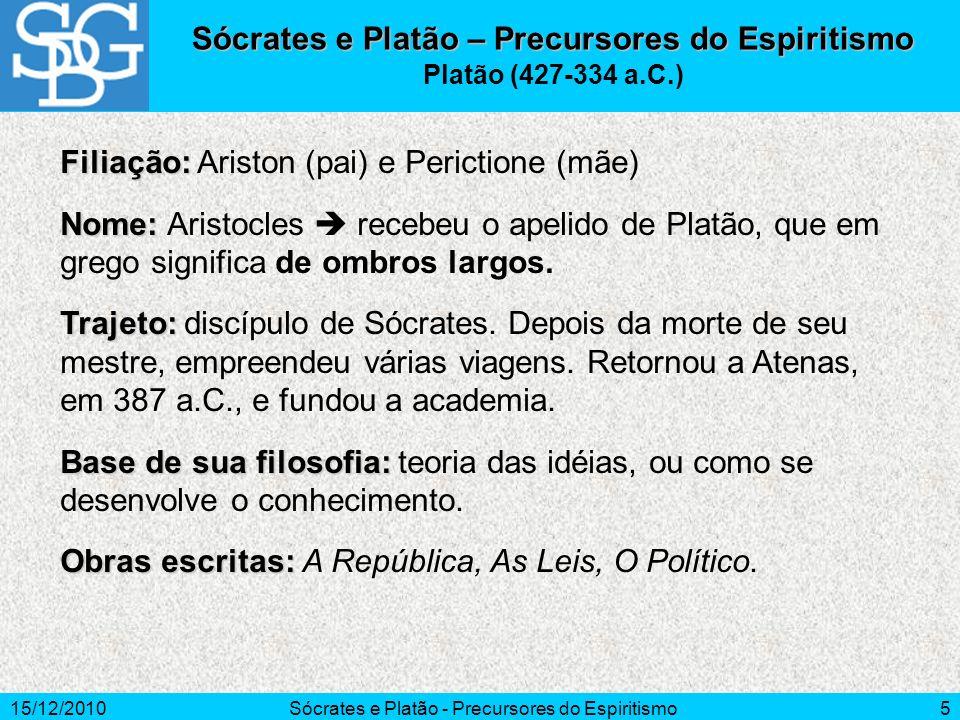 15/12/2010Sócrates e Platão - Precursores do Espiritismo5 Sócrates e Platão – Precursores do Espiritismo Platão (427-334 a.C.) Filiação: Filiação: Ari