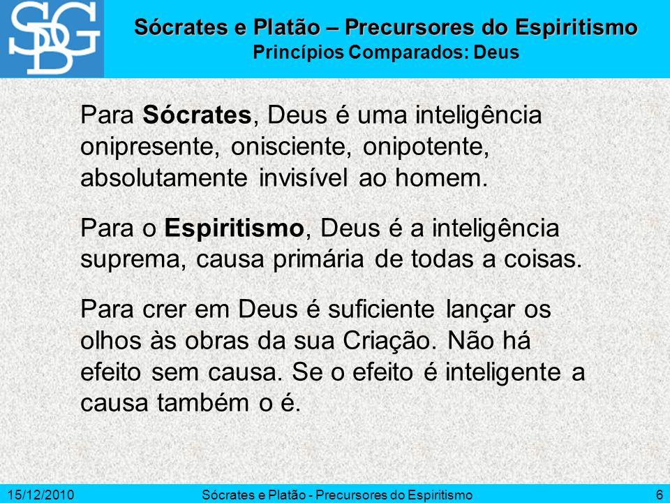 15/12/2010Sócrates e Platão - Precursores do Espiritismo7 Para Sócrates, na união da alma ao corpo, a alma se macula, e só reconquista sua pureza pela libertação do corpo.