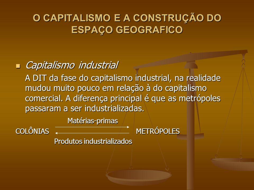 O CAPITALISMO E A CONSTRUÇÃO DO ESPAÇO GEOGRAFICO Capitalismo industrial Capitalismo industrial A DIT da fase do capitalismo industrial, na realidade